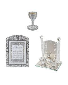 סט לשבת פמוטי קריסטל מהודרים כוס קידוש עם אבנים משובצות וברכת הדלקת נרות עם נצנצים בעיצוב ירושלים