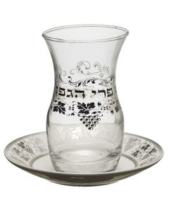 גביע קידוש זכוכית עם תחתית קרמיקה