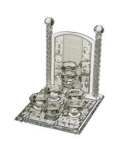 פמוטי קריסטל מהודרים 5 קנים עם פלקטה הדלקת נרות דגם ירושלים