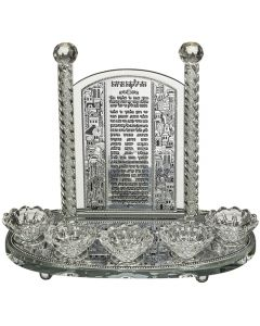 פמוט קריסטל 5 קנים עם פלקטה הדלקת נרות דגם ירושלים