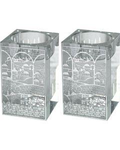 פמוטי קריסטל מרובעים עם פלקטה דגם ירושלים