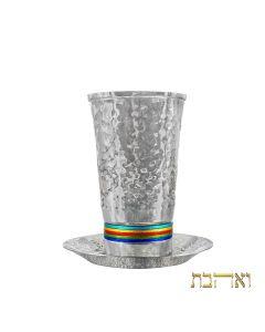 כוס קידוש בעיצוב חדיש עם טבעות צבעוניות דקות