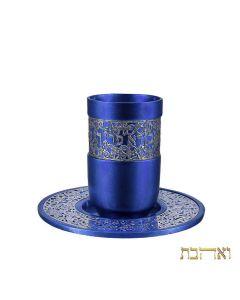 כוס קידוש בצבע מטאלי מהודרת בעיטור רימונים