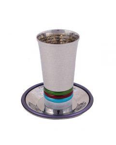 כוס קידוש - טבעות בולטות צבעוני