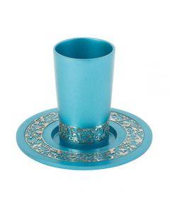 כוס קידוש + עיטור רימונים - טורקיז