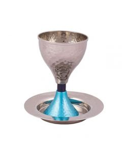 כוס קידוש ניקל עבודת פטיש כחול וטורקיז