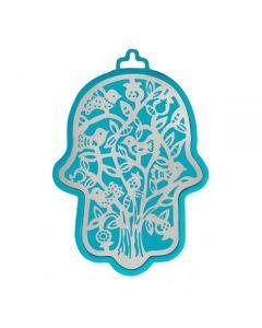 חמסה גדולה - טורקיז + מגזרת מתכת נירוסטה - עץ ציפורים