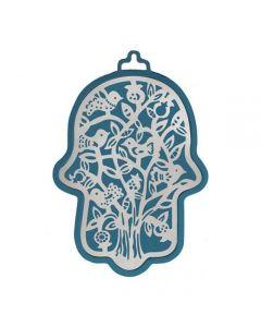 חמסה גדולה - כחול מגזרת מתכת נירוסטה - עץ ציפורים