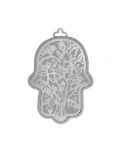 חמסה קטנה - כסוף מגזרת מתכת נירוסטה - עץ ציפורים