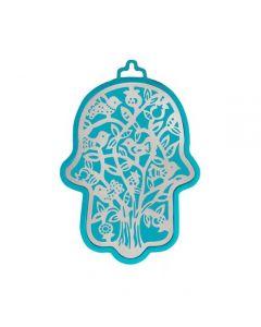 חמסה קטנה - טורקיז מגזרת מתכת נירוסטה - עץ ציפורים