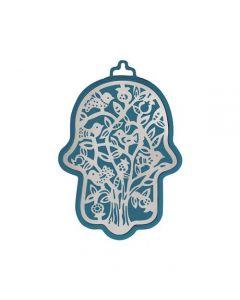 חמסה קטנה - כחול + מגזרת מתכת נירוסטה - עץ ציפורים