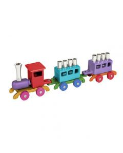 חנוכיית רכבת צבעונית