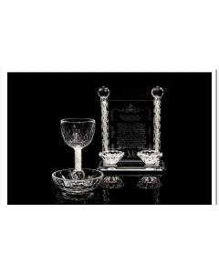 סט קידוש - גביע ופמוטים קריסטל