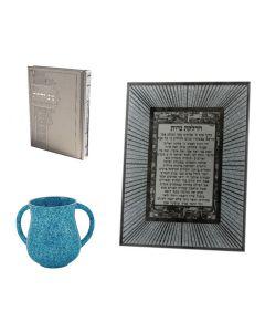 סט נטלה מעודנת טורקיז ספר תהילים מחולק לפי ימים וסגולות וברכת הדלקת נרות מזכוכית