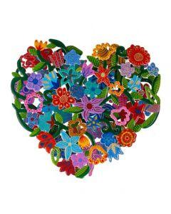 מגזרת מתכת כפולה - ציור יד - לב - פרחים