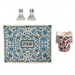 סט מקושט לשבת כיסוי חלה פרחוני מרקמה זוג פמוטי ירושלים יוקרתיים ונטלה צבעונית