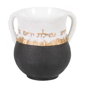 נטלה מהודרת שחור לבן זהב מדגם ירושלים