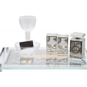 סט המלכה לורן החדשה עם פמוטים קטנים כוס קידוש מקריסטלוכלי לבשמים