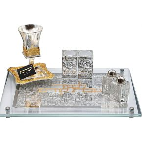 סט איכותי המלכה רבקה כוס קידוש איכותית מלחיות ופמוטים מקריסטל ומגש חלה