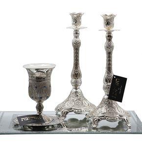 סט מלאכי השרת זוג פמוטים גבוהים כוס קידוש ומגש טוסקני
