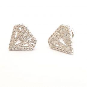 עגילי כסף טהור צמודים בצורת יהלומים